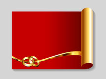 Ouro e fundo vermelho do sumário do casamento Fotos de Stock