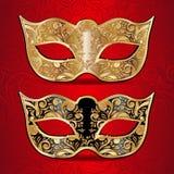 Ouro e máscaras pretas para o disfarce ilustração stock