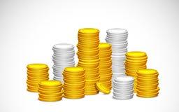 Ouro e moeda de prata Imagem de Stock