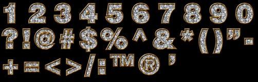 Ouro e numerais e pontuação do diamante Foto de Stock