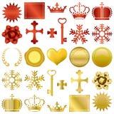 Ouro e ornamento vermelhos do projeto ajustados Imagens de Stock Royalty Free