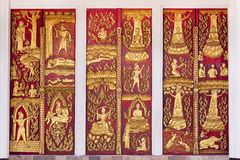 Ouro e painéis vermelhos da arte Fotos de Stock Royalty Free