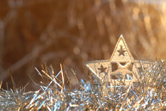 Ouro e prata do cartão de Natal. Copie o espaço Fotografia de Stock