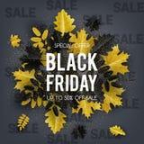 Ouro e preto das folhas de outono com texto Black Friday ilustração do vetor