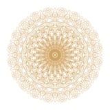 Ouro e quadro decorativos com testes padrões redondos do vintage no branco! Foto de Stock