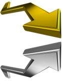 Ouro e setas 3D de prata Foto de Stock Royalty Free