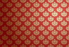 Ouro e teste padrão vermelho do encanto Imagens de Stock Royalty Free