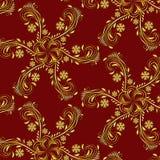 Ouro elegante & teste padrão sem emenda vermelho do vetor Imagens de Stock