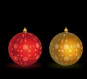 Ouro - esfera vermelha do Natal Fotografia de Stock Royalty Free