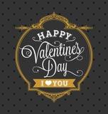 Ouro feliz e preto do cartão do feriado do dia de Valentim Fotografia de Stock