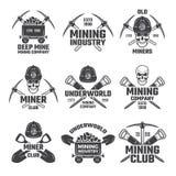 Ouro industrial e vária mineração mineral O preto etiqueta o grupo do vetor ilustração do vetor