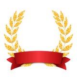 Ouro Laurel Vetora Projeto ajustado da concessão da grinalda do brilho Fita vermelha Lugar para o texto ilustração royalty free