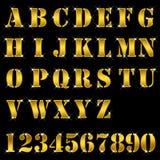 Ouro, letras, alfabeto, números Imagens de Stock Royalty Free