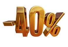 Ouro -40%, menos o sinal de um disconto de quarenta por cento Imagens de Stock