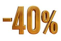 Ouro -40%, menos o sinal de um disconto de quarenta por cento Imagem de Stock