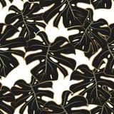 Ouro, monstera preto e branco Teste padrão sem emenda ilustração stock