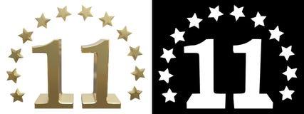 Ouro número onze, decorado com um círculo das estrelas ilustração 3D Imagem de Stock Royalty Free