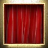 Ouro na cortina vermelha Foto de Stock Royalty Free