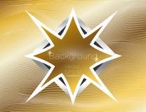 Ouro ondulado, linhas luxo Textura do vetor do fundo das listras do ouro, com a placa estrela-dada forma escura O enrolamento da  ilustração stock