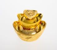 Ouro ou símbolos chineses do meio do lingote do ouro da riqueza e da prosperidade Fotografia de Stock Royalty Free