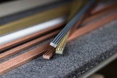 Ouro, prata e metais de cobre fotografia de stock royalty free