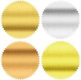 Ouro, prata e selos ou medalhas do bronze com trajeto de grampeamento Foto de Stock