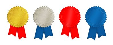 Ouro, prata, moedas vermelhas e azuis ou medalhas Fotografia de Stock