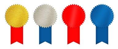 Ouro, prata, moedas vermelhas e azuis ou medalhas Imagem de Stock