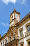 Ouro Preto architecture. Front view of the facade of the Conspiracy Museum with its tower and clock in the Ouro Preto city Royalty Free Stock Images