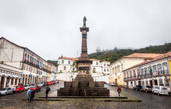 Ouro Preto, Brazil. December 1, 2014: Street scene The centre of The city with typical architecture ,UNESCO world heritage city center of Ouro Preto in Brazil royalty free stock image