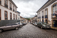 Ouro Preto, Brazil. December 1, 2014: Street scene The centre of The city with typical architecture ,UNESCO world heritage city center of Ouro Preto in Brazil royalty free stock photo