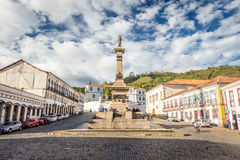Ouro Preto, Brazil. December 2, 2014: Street scene of Teradentes Square The centre of The city with typical architecture ,UNESCO world heritage city center of royalty free stock photos
