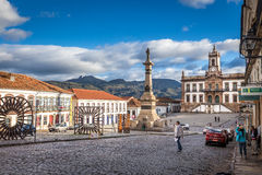 Ouro Preto, Brazil. December 2, 2014: Street scene of Teradentes Square The centre of The city with typical architecture ,UNESCO world heritage city center of stock image