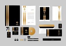 Ouro, preto e molde da identidade corporativa da prata para seu negócio 6 Foto de Stock