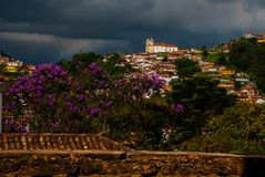 Ouro Preto, Minas Gerais, Brazil: Old colonial houses in the center of the old town. UNESCO world heritage. Ouro Preto, Minas Gerais, Brazil: Beautiful Old royalty free stock images