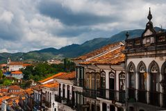 Ouro Preto, Minas Gerais, Brazil: Old colonial houses in the center of the old town. UNESCO world heritage. Ouro Preto, Minas Gerais, Brazil: Beautiful Old royalty free stock image