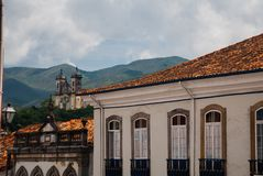 Ouro Preto, Minas Gerais, Brazil: Old colonial houses in the center of the old town. UNESCO world heritage. Ouro Preto, Minas Gerais, Brazil: Beautiful Old stock image
