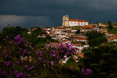 Ouro Preto, Minas Gerais, Brazil: Old colonial houses in the center of the old town. UNESCO world heritage. Ouro Preto, Minas Gerais, Brazil: Beautiful Old stock photo