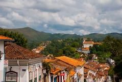 Ouro Preto, minas gerais, Brazylia: Miasto widok historyczny g?rniczy miasto Outro Preto zdjęcie royalty free