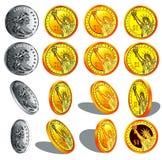 ouro realístico e moedas de prata Foto de Stock Royalty Free