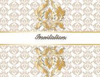 Ouro real clássico cartão ornamented Ilustração Stock