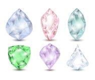 Ouro roxo cor-de-rosa azul do verde oval brilhante colorido do marquês da lágrima do topázio dos diamantes do rubi das gemas com  Fotos de Stock