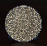 Ouro Sapphire Circular Plate Fotografia de Stock Royalty Free