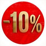 Ouro sinal de 10 por cento no vermelho Fotografia de Stock Royalty Free
