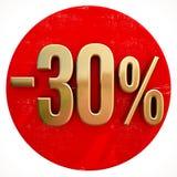 Ouro sinal de 30 por cento no vermelho Fotografia de Stock Royalty Free