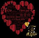 Ouro Te amo do coração nas línguas Fotografia de Stock Royalty Free