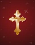 Ouro transversal no fundo vermelho Fotografia de Stock
