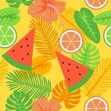 Ouro tropical e teste padrão amarelo do verão ilustração royalty free
