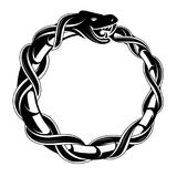 Ouroboros concept tattoo shape. Ouroboros tattoo shape. Mythological symbol of snake biting its tail Royalty Free Stock Photo