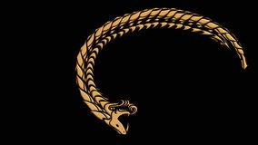 Ouroboros symbol of ancient snake eating its tail stock video footage